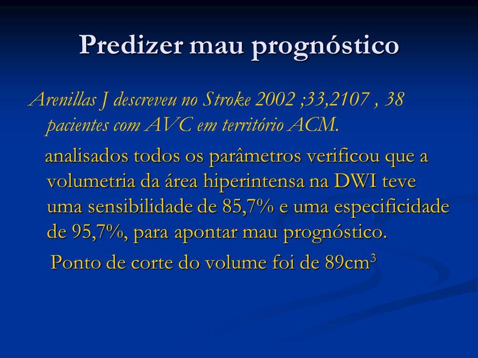 Predizer mau prognóstico Arenillas J descreveu no Stroke 2002 ;33,2107, 38 pacientes com AVC em território ACM. analisados todos os parâmetros verific
