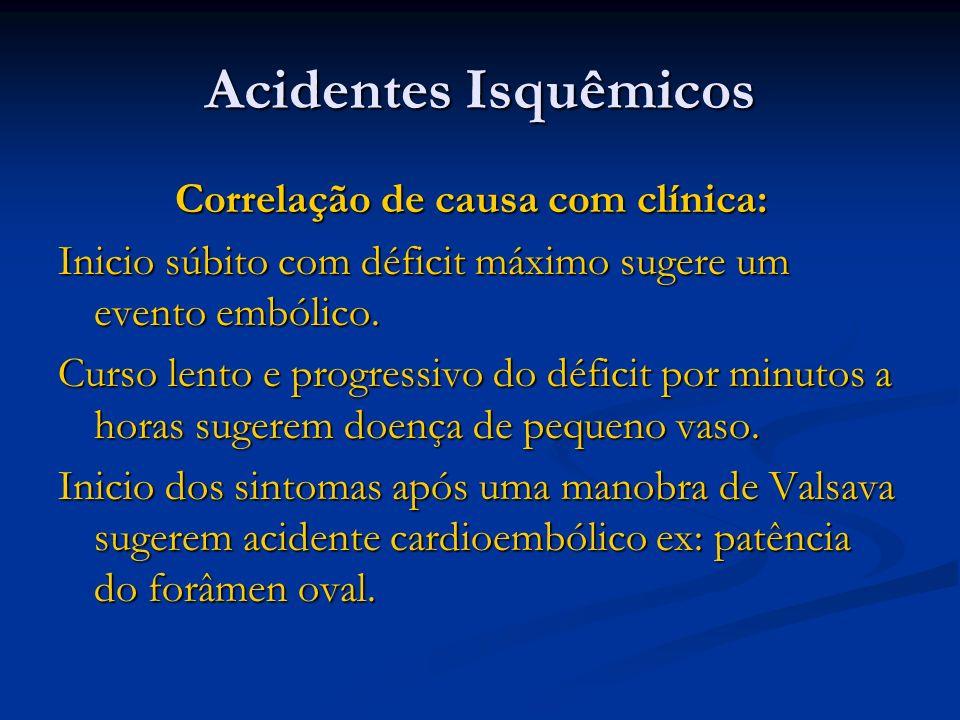 Acidentes Isquêmicos Correlação de causa com clínica: Correlação de causa com clínica: Inicio súbito com déficit máximo sugere um evento embólico. Cur