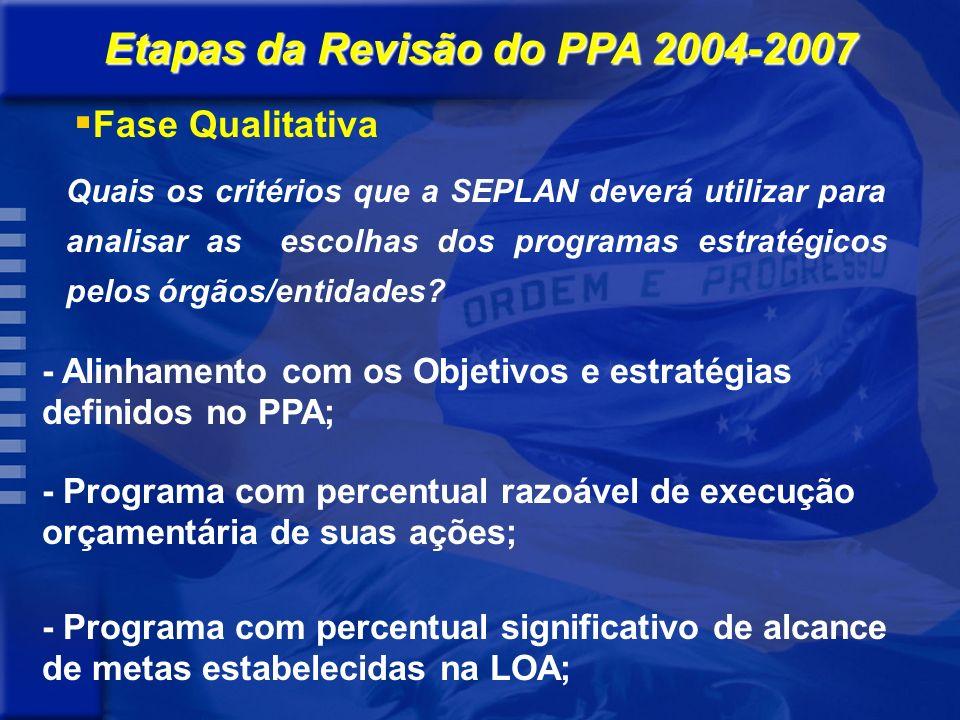 Quais os critérios que a SEPLAN deverá utilizar para analisar as escolhas dos programas estratégicos pelos órgãos/entidades.