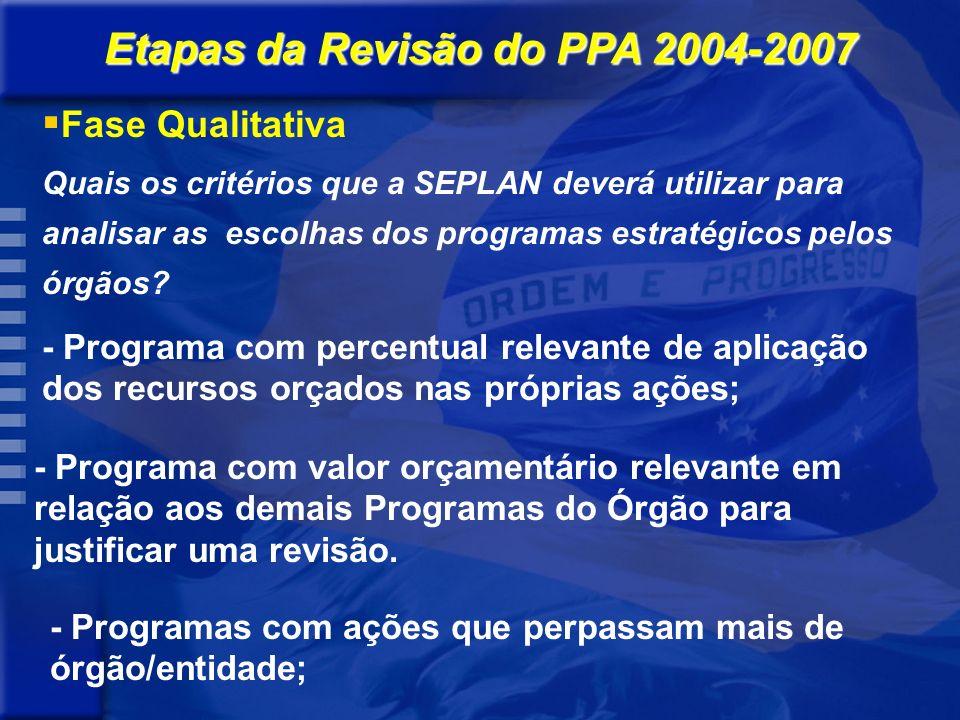Quais os critérios que a SEPLAN deverá utilizar para analisar as escolhas dos programas estratégicos pelos órgãos.