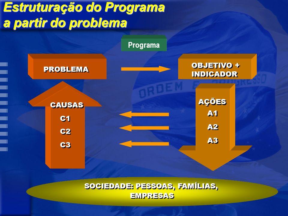 PROBLEMA CAUSAS C1 C2 C3 OBJETIVO + INDICADOR OBJETIVO + INDICADOR AÇÕES A1 A2 A3 SOCIEDADE: PESSOAS, FAMÍLIAS, EMPRESAS Programa Estruturação do Programa a partir do problema