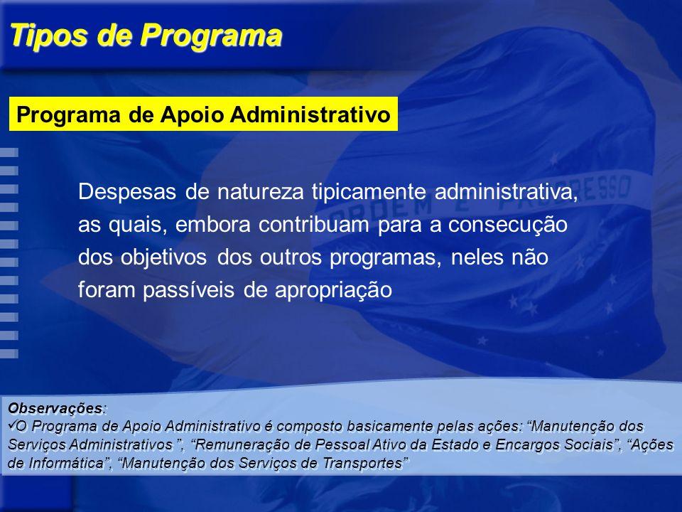 Programa de Gestão de Políticas Públicas Destinado ao planejamento e à formulação de políticas setoriais, à coordenação, avaliação e controle dos demais programas sob a responsabilidade de determinado órgão.