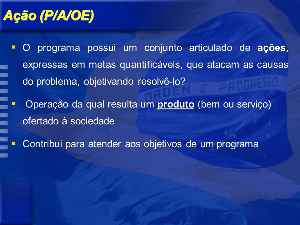 Ação (P/A/OE) O programa possui um conjunto articulado de ações, expressas em metas quantificáveis, que atacam as causas do problema, objetivando resolvê-lo.