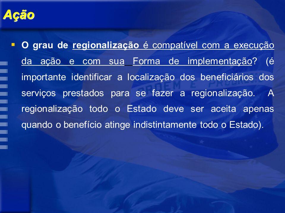 Ação O grau de regionalização é compatível com a execução da ação e com sua Forma de implementação.
