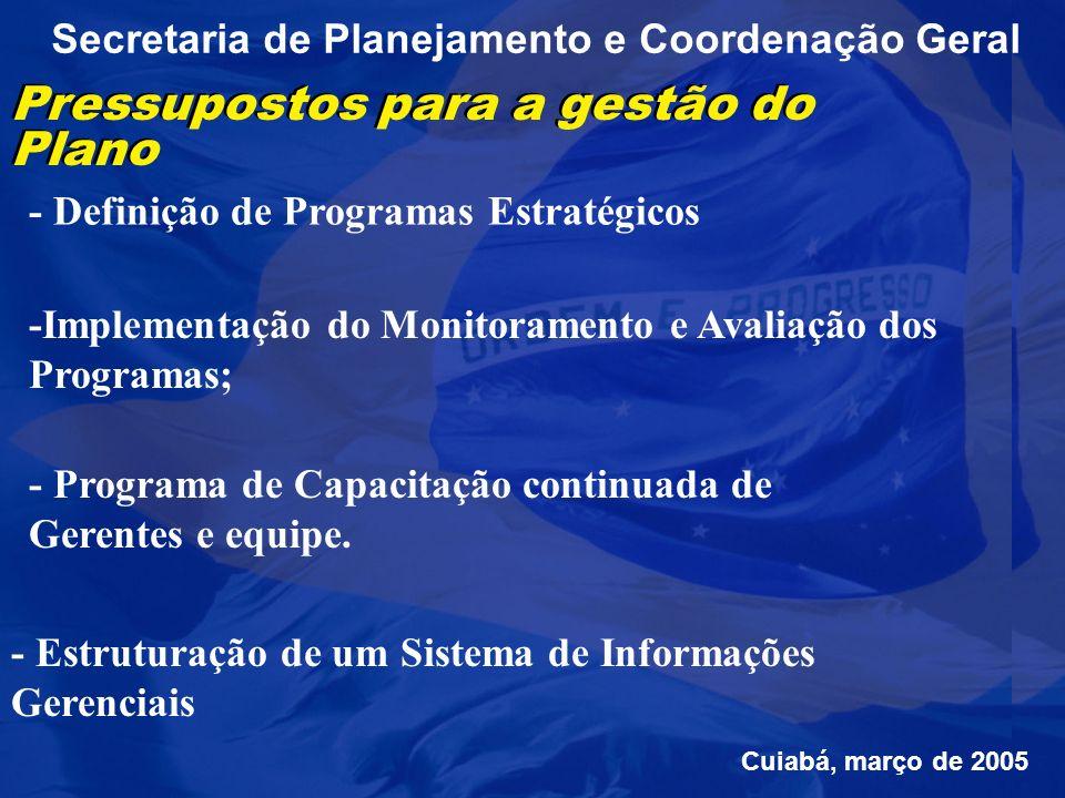 Secretaria de Planejamento e Coordenação Geral Pressupostos para a gestão do Plano - Definição de Programas Estratégicos -Implementação do Monitoramento e Avaliação dos Programas; - Programa de Capacitação continuada de Gerentes e equipe.