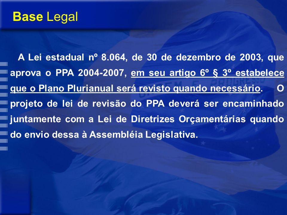 Base Legal A Lei estadual nº 8.064, de 30 de dezembro de 2003, que aprova o PPA 2004-2007, em seu artigo 6º § 3º estabelece que o Plano Plurianual será revisto quando necessário.
