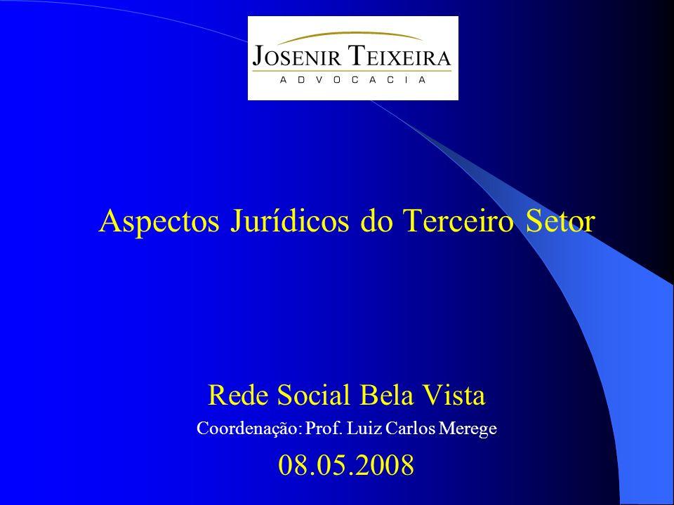 Aspectos Jurídicos do Terceiro Setor Rede Social Bela Vista Coordenação: Prof. Luiz Carlos Merege 08.05.2008