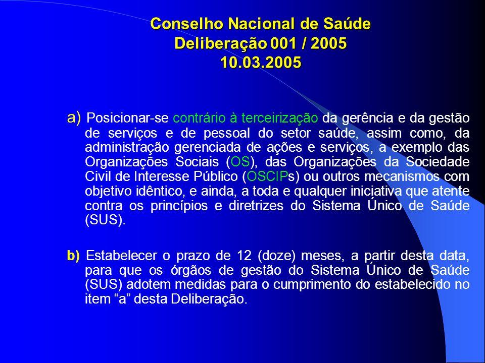 Conselho Nacional de Saúde Deliberação 001 / 2005 10.03.2005 a) Posicionar-se contrário à terceirização da gerência e da gestão de serviços e de pesso