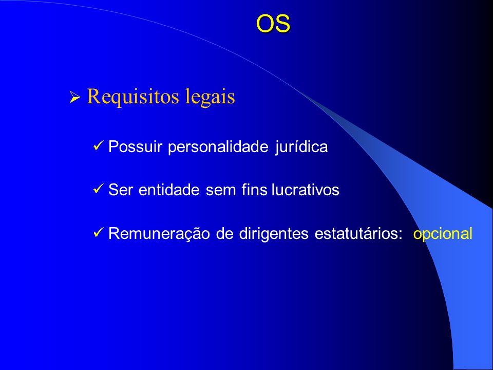 OS Requisitos legais Possuir personalidade jurídica Ser entidade sem fins lucrativos Remuneração de dirigentes estatutários: opcional