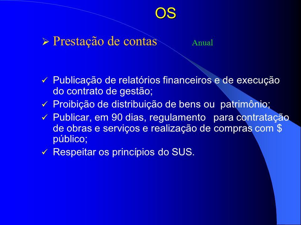 OS Prestação de contas Anual Publicação de relatórios financeiros e de execução do contrato de gestão; Proibição de distribuição de bens ou patrimônio