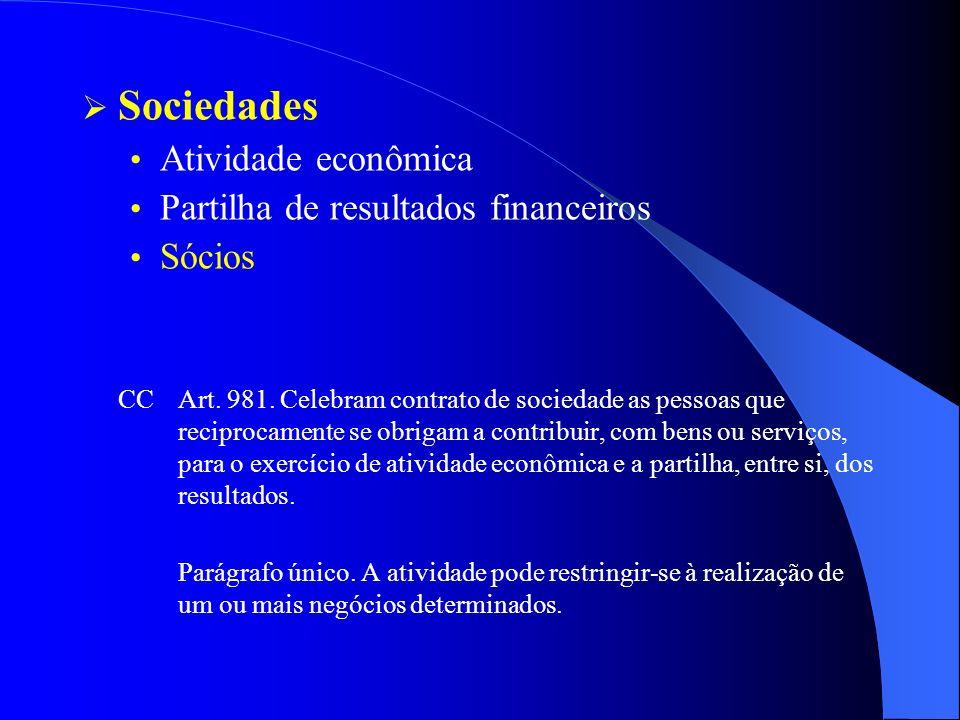 Sociedades Atividade econômica Partilha de resultados financeiros Sócios CCArt. 981. Celebram contrato de sociedade as pessoas que reciprocamente se o