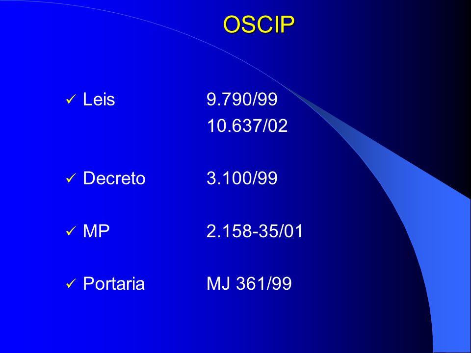 OSCIP Leis 9.790/99 10.637/02 Decreto 3.100/99 MP 2.158-35/01 Portaria MJ 361/99