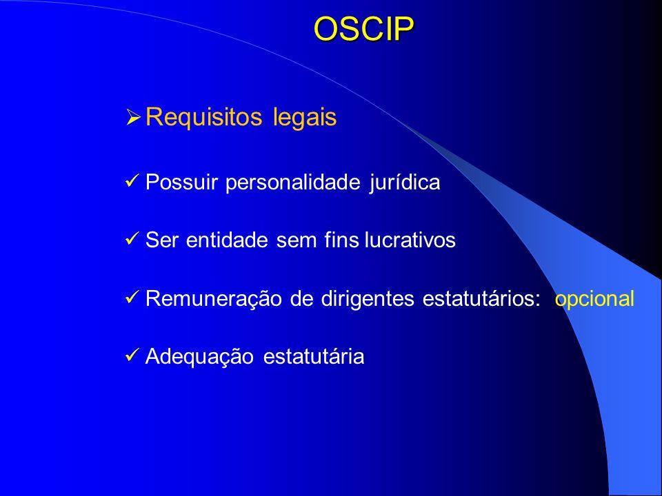 OSCIP Requisitos legais Possuir personalidade jurídica Ser entidade sem fins lucrativos Remuneração de dirigentes estatutários: opcional Adequação est