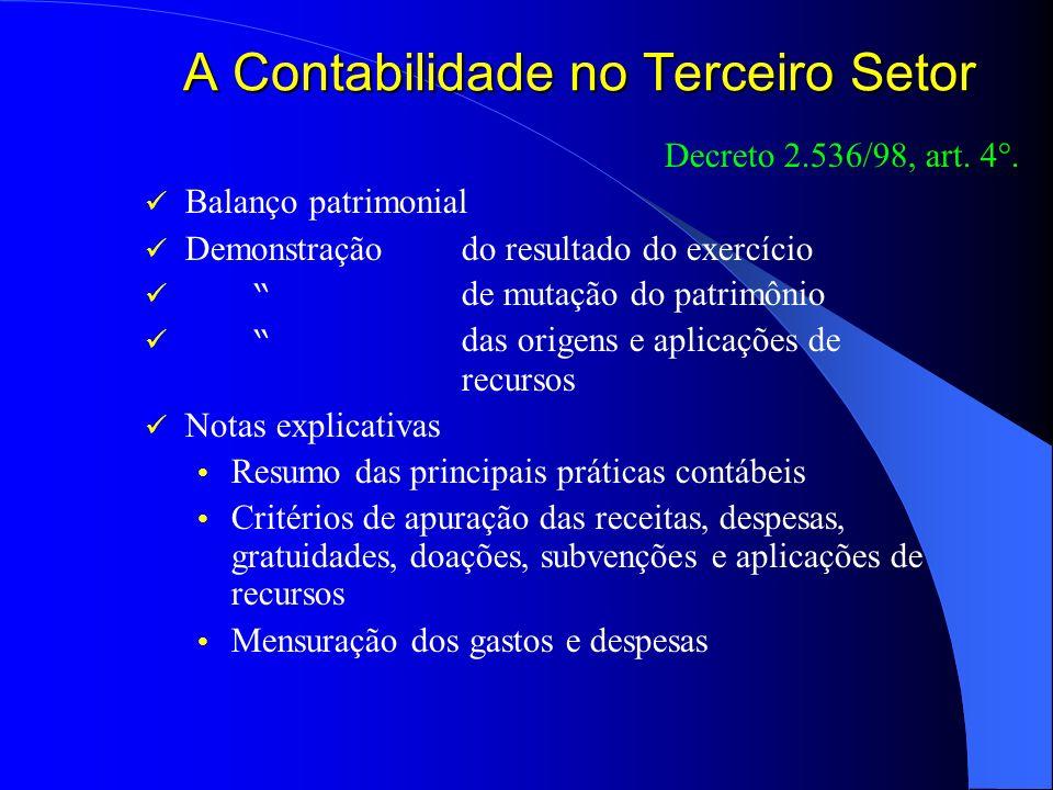 A Contabilidade no Terceiro Setor Decreto 2.536/98, art. 4°. Balanço patrimonial Demonstração do resultado do exercício de mutação do patrimônio das o