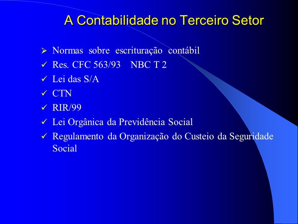 A Contabilidade no Terceiro Setor Normas sobre escrituração contábil Res. CFC 563/93NBC T 2 Lei das S/A CTN RIR/99 Lei Orgânica da Previdência Social