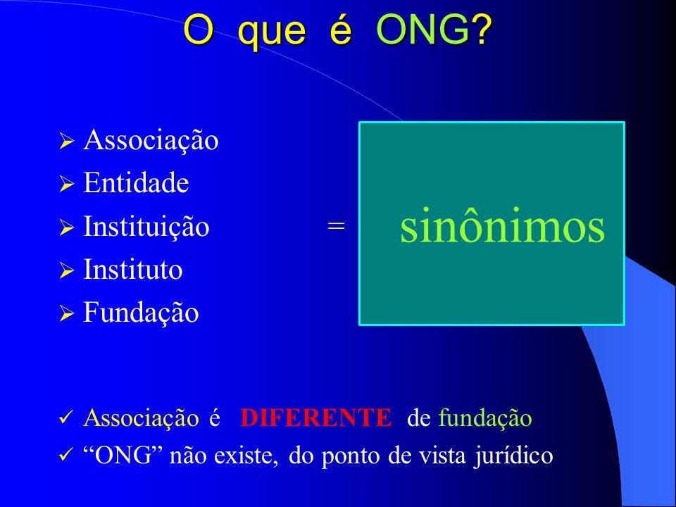 O que é ONG? Associação Entidade Instituição= Instituto Fundação Associação é DIFERENTE de fundação ONG não existe, do ponto de vista jurídico sinônim