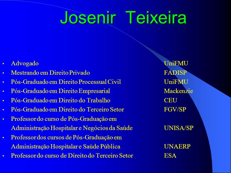 Josenir Teixeira Membro do Conselho Consultivo da Comissão do Terceiro Setor da OAB/SP Presidente do IBATS – Instituto Brasileiro de Advogados do Terceiro Setor Fundador e Diretor da RDTS – Revista de Direito do Terceiro Setor Professor de Direito do Terceiro Setor no Cons.