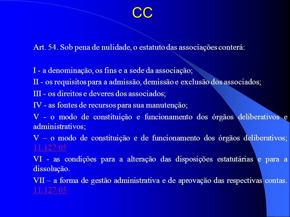 CC Art. 54. Sob pena de nulidade, o estatuto das associações conterá: I - a denominação, os fins e a sede da associação; II - os requisitos para a adm
