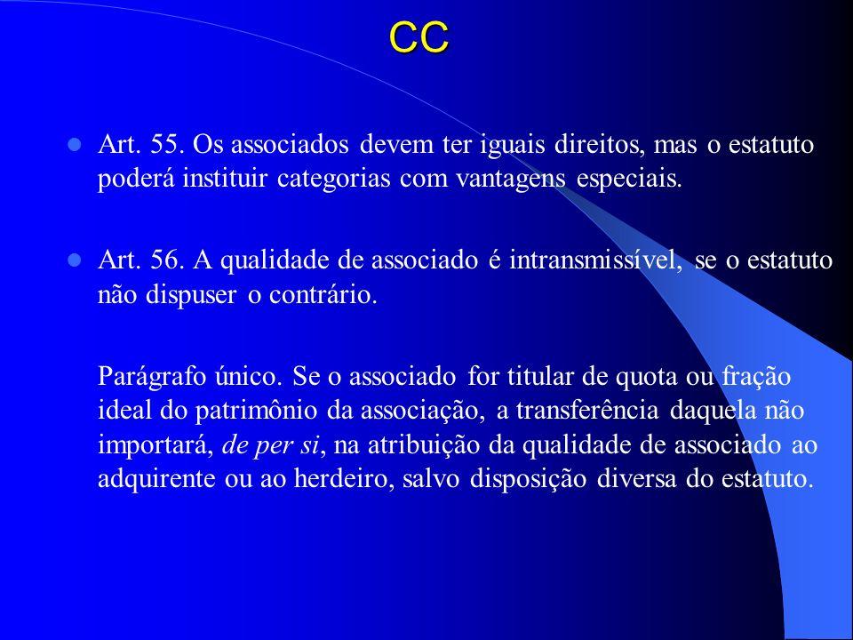 CC Art. 55. Os associados devem ter iguais direitos, mas o estatuto poderá instituir categorias com vantagens especiais. Art. 56. A qualidade de assoc