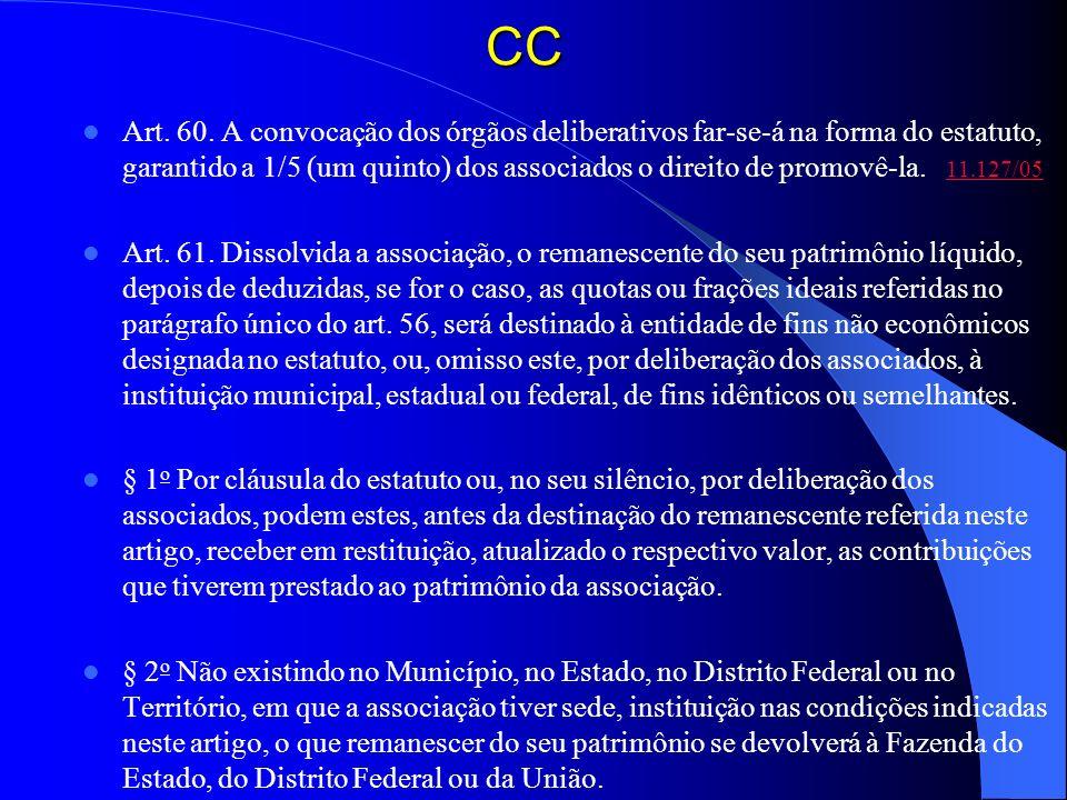 CC Art. 60. A convocação dos órgãos deliberativos far-se-á na forma do estatuto, garantido a 1/5 (um quinto) dos associados o direito de promovê-la. 1