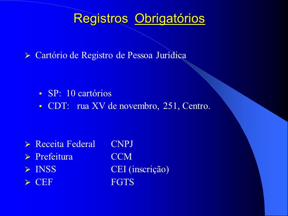 Registros Obrigatórios Cartório de Registro de Pessoa Jurídica SP: 10 cartórios CDT: rua XV de novembro, 251, Centro. Receita FederalCNPJ PrefeituraCC