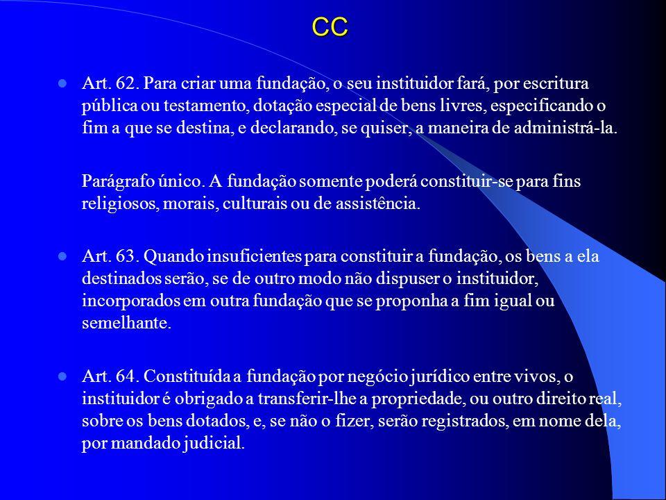 CC Art. 62. Para criar uma fundação, o seu instituidor fará, por escritura pública ou testamento, dotação especial de bens livres, especificando o fim