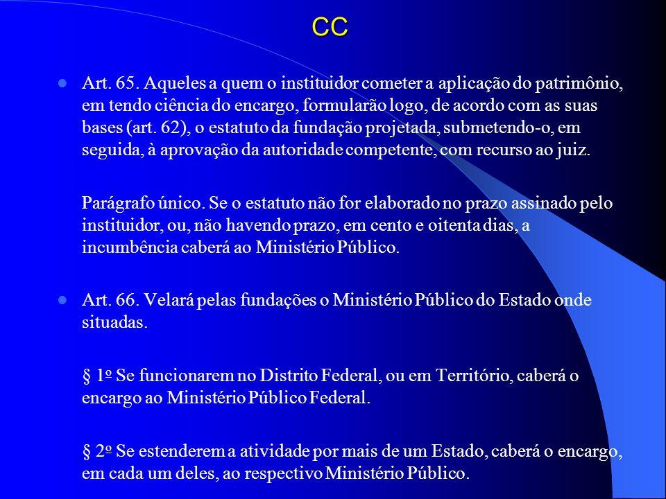 CC Art. 65. Aqueles a quem o instituidor cometer a aplicação do patrimônio, em tendo ciência do encargo, formularão logo, de acordo com as suas bases