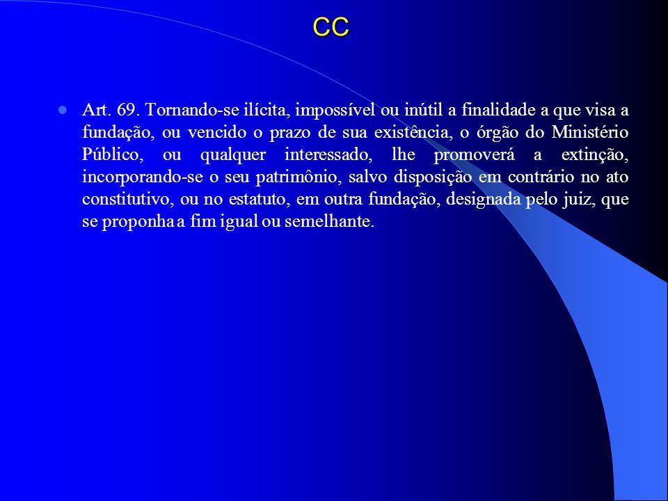 CC Art. 69. Tornando-se ilícita, impossível ou inútil a finalidade a que visa a fundação, ou vencido o prazo de sua existência, o órgão do Ministério