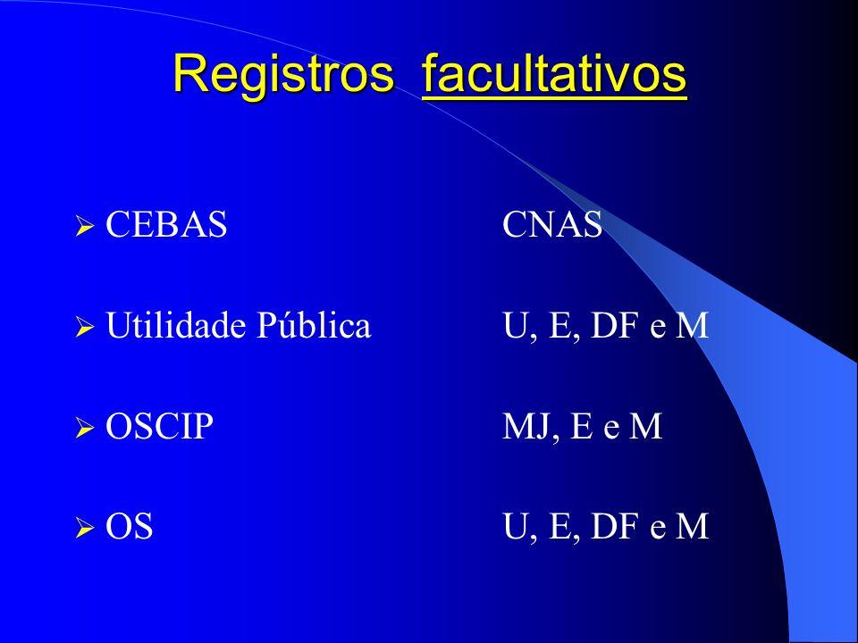 Registros facultativos CEBASCNAS Utilidade PúblicaU, E, DF e M OSCIPMJ, E e M OSU, E, DF e M