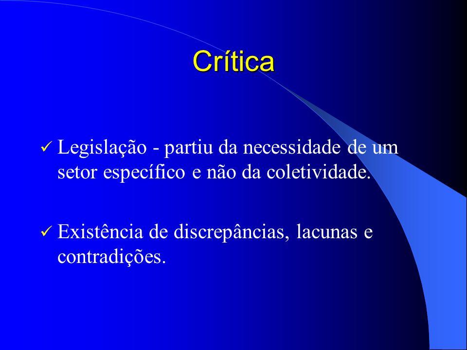 Crítica Legislação - partiu da necessidade de um setor específico e não da coletividade. Existência de discrepâncias, lacunas e contradições.