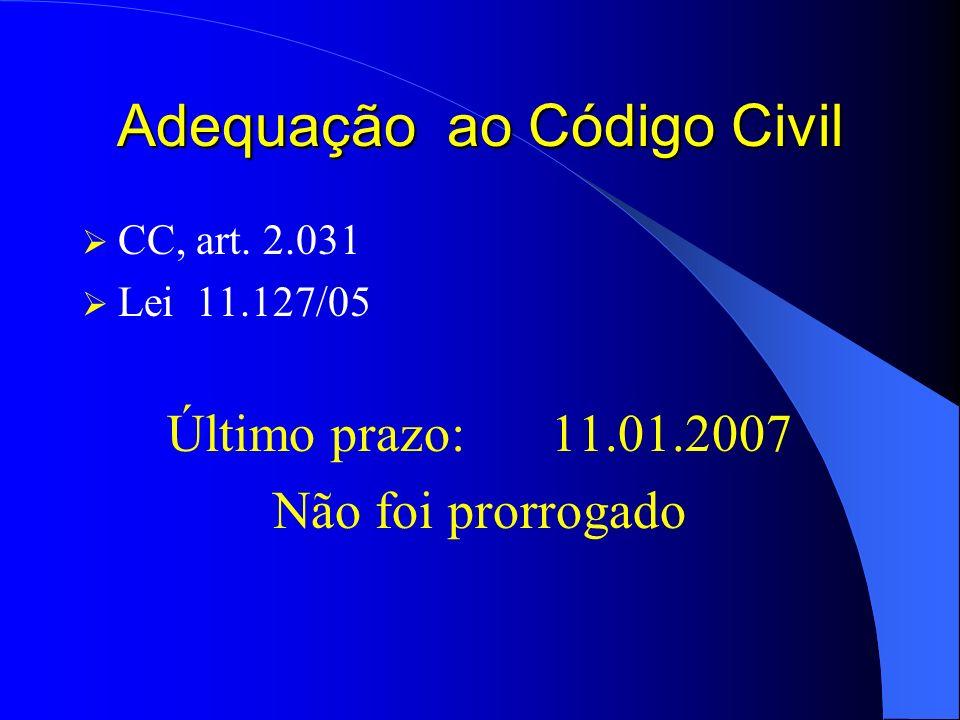 Adequação ao Código Civil CC, art. 2.031 Lei 11.127/05 Último prazo:11.01.2007 Não foi prorrogado