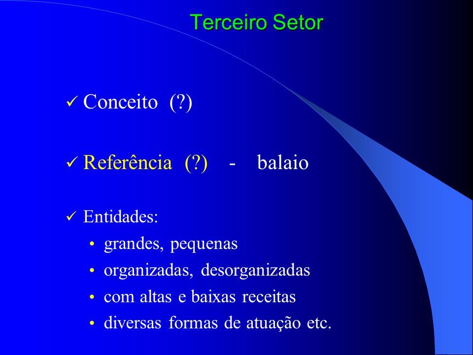 Conceito (?) Referência (?) - balaio Entidades: grandes, pequenas organizadas, desorganizadas com altas e baixas receitas diversas formas de atuação e