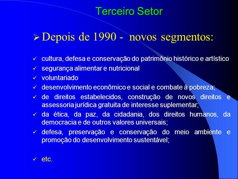 Depois de 1990 - novos segmentos: cultura, defesa e conservação do patrimônio histórico e artístico segurança alimentar e nutricional voluntariado des