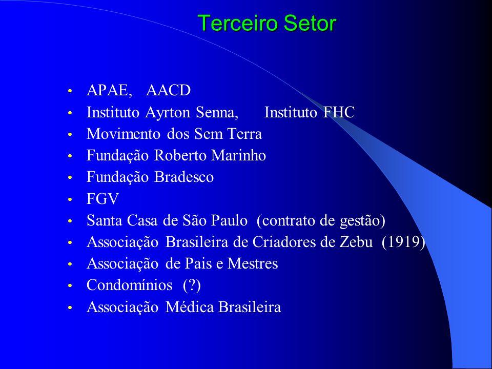 APAE, AACD Instituto Ayrton Senna, Instituto FHC Movimento dos Sem Terra Fundação Roberto Marinho Fundação Bradesco FGV Santa Casa de São Paulo (contr