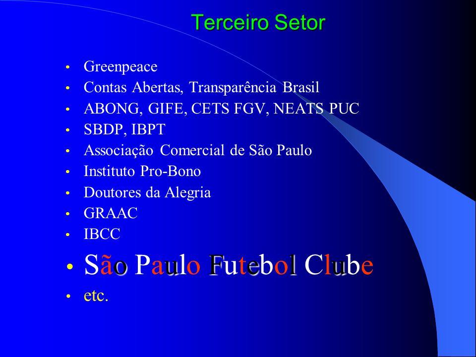 Greenpeace Contas Abertas, Transparência Brasil ABONG, GIFE, CETS FGV, NEATS PUC SBDP, IBPT Associação Comercial de São Paulo Instituto Pro-Bono Douto
