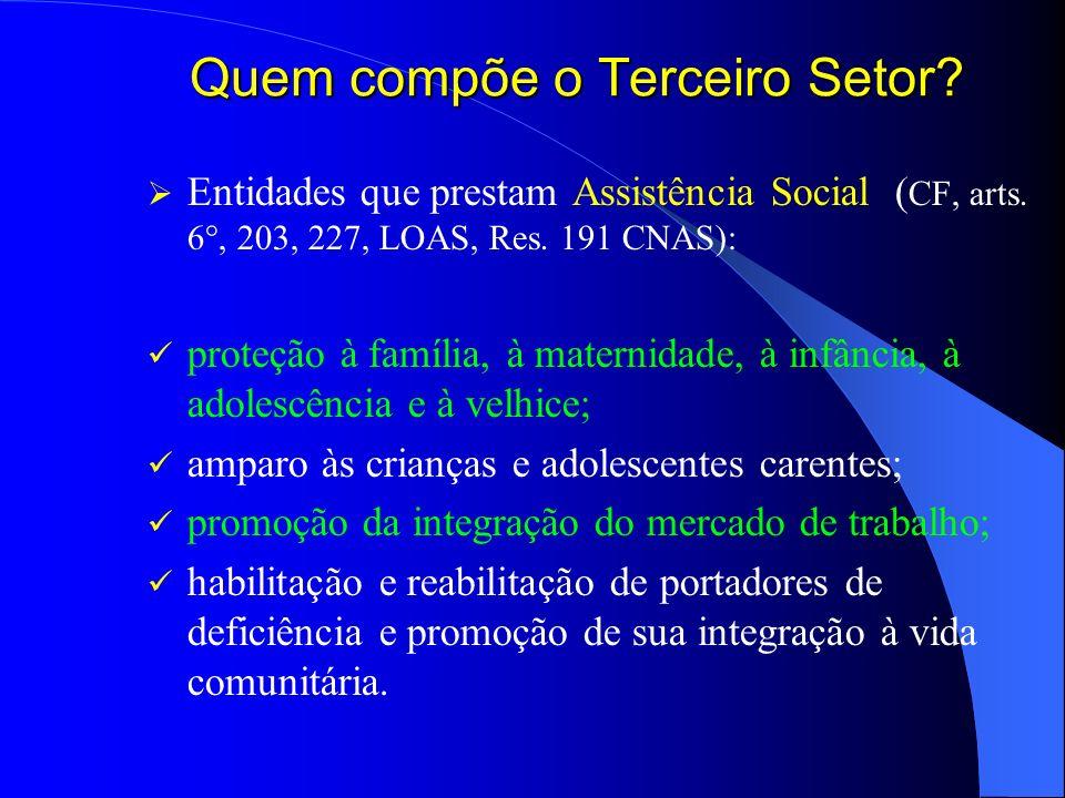 Quem compõe o Terceiro Setor? Entidades que prestam Assistência Social ( CF, arts. 6°, 203, 227, LOAS, Res. 191 CNAS): proteção à família, à maternida