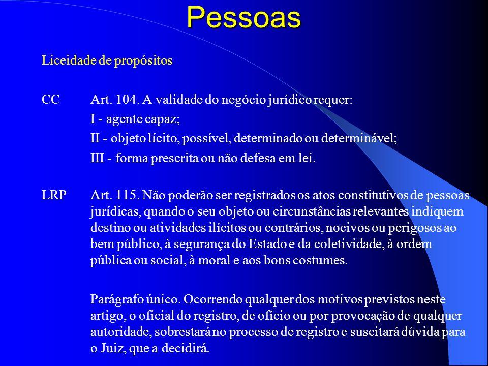 Pessoas Liceidade de propósitos CC Art. 104. A validade do negócio jurídico requer: I - agente capaz; II - objeto lícito, possível, determinado ou det