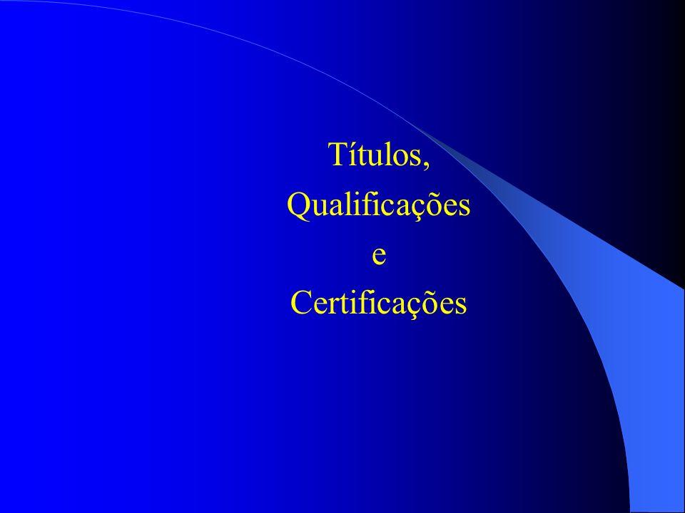 Títulos, Qualificações e Certificações