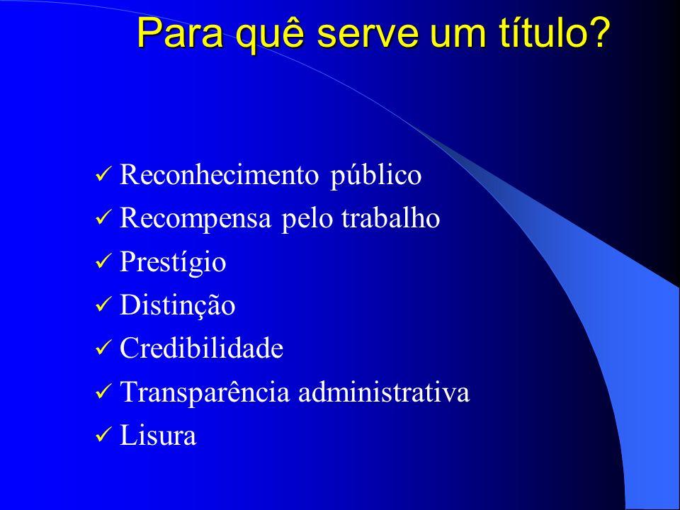 Para quê serve um título? Reconhecimento público Recompensa pelo trabalho Prestígio Distinção Credibilidade Transparência administrativa Lisura
