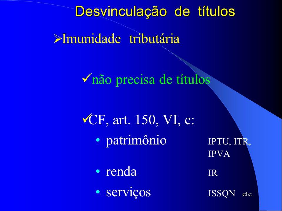 Desvinculação de títulos Imunidade tributária não precisa de títulos CF, art. 150, VI, c: patrimônio IPTU, ITR, IPVA renda IR serviços ISSQN etc.