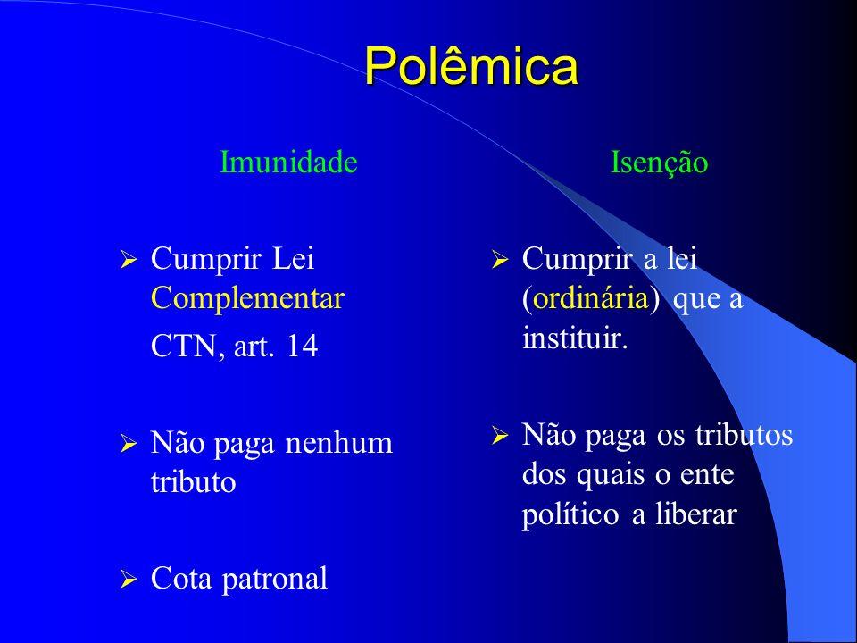 Polêmica Imunidade Cumprir Lei Complementar CTN, art. 14 Não paga nenhum tributo Cota patronal Isenção Cumprir a lei (ordinária) que a instituir. Não