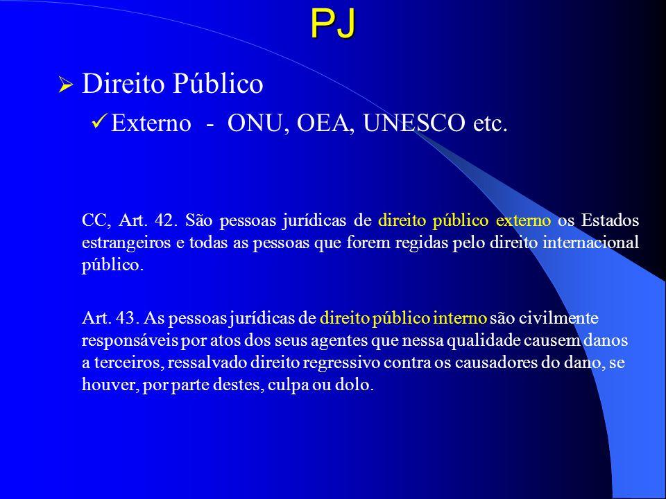 PJ Direito Público Externo - ONU, OEA, UNESCO etc. CC, Art. 42. São pessoas jurídicas de direito público externo os Estados estrangeiros e todas as pe