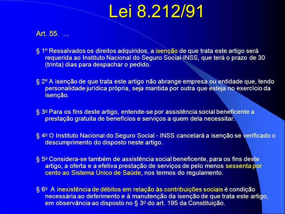 Lei 8.212/91 Art. 55.... § 1º Ressalvados os direitos adquiridos, a isenção de que trata este artigo será requerida ao Instituto Nacional do Seguro So