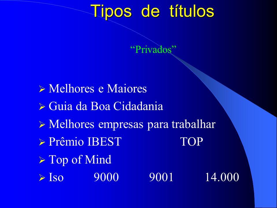 Tipos de títulos Privados Melhores e Maiores Guia da Boa Cidadania Melhores empresas para trabalhar Prêmio IBEST TOP Top of Mind Iso 9000900114.000