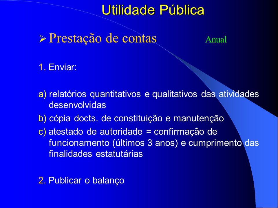 Utilidade Pública Prestação de contas Anual 1. Enviar: a) relatórios quantitativos e qualitativos das atividades desenvolvidas b) cópia docts. de cons
