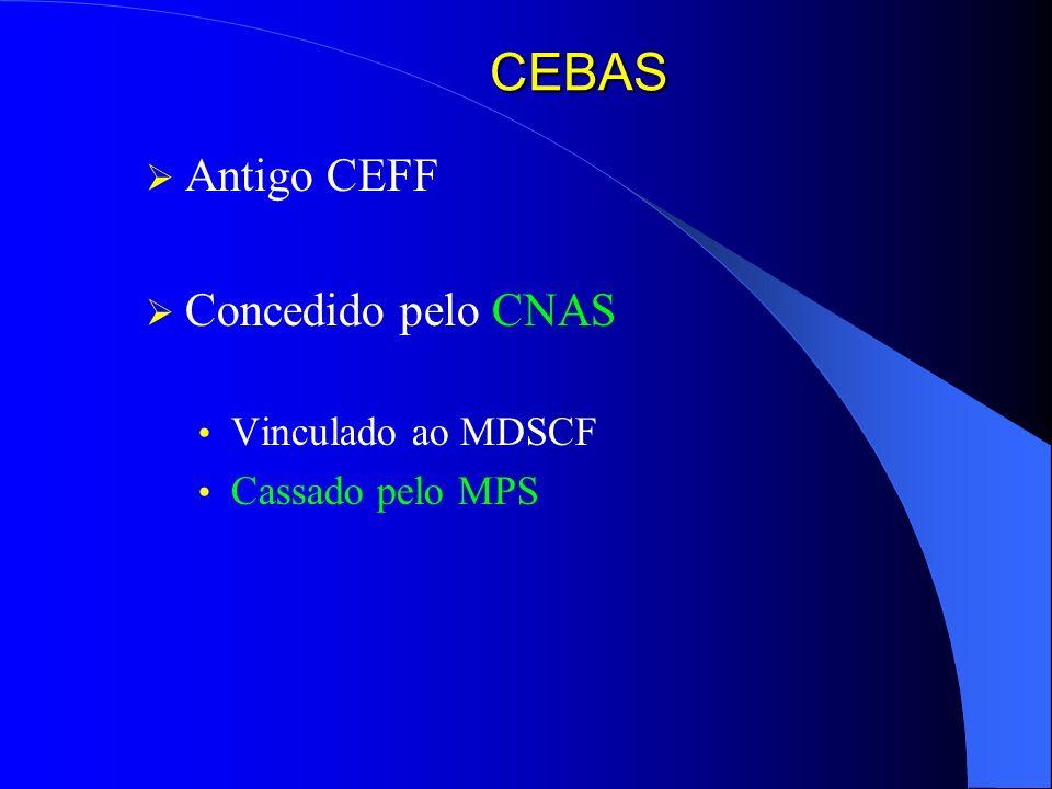 CEBAS Antigo CEFF Concedido pelo CNAS Vinculado ao MDSCF Cassado pelo MPS