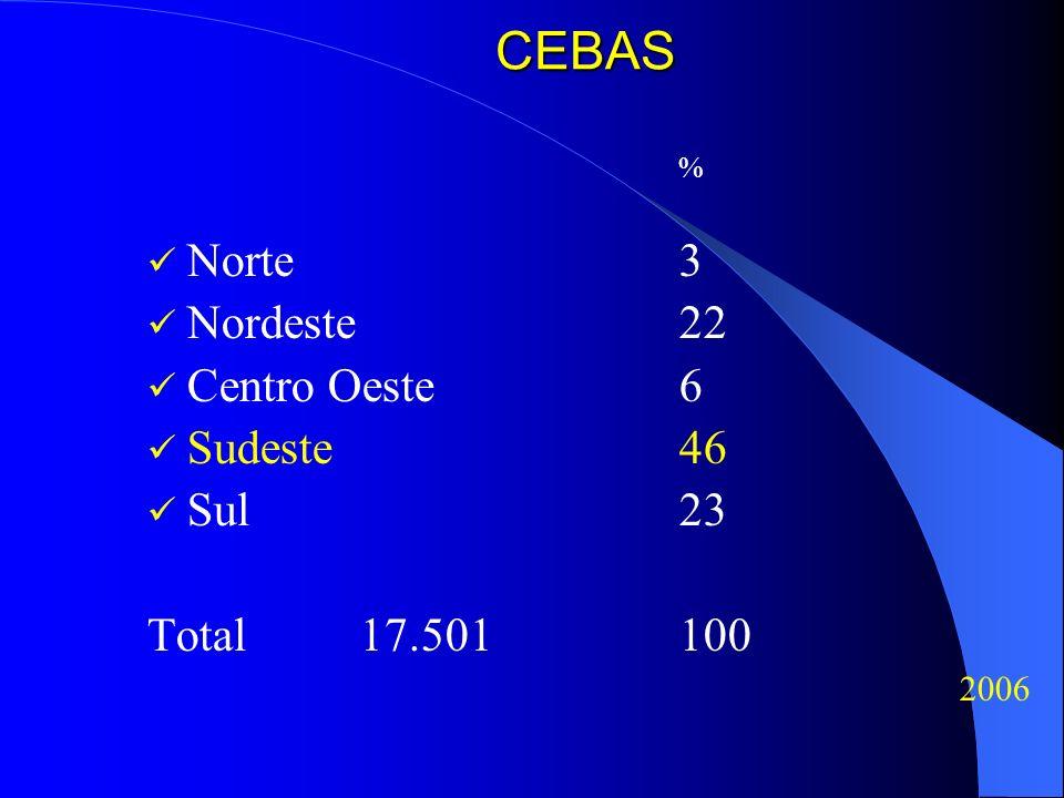 CEBAS % Norte3 Nordeste22 Centro Oeste6 Sudeste46 Sul23 Total17.501100 2006