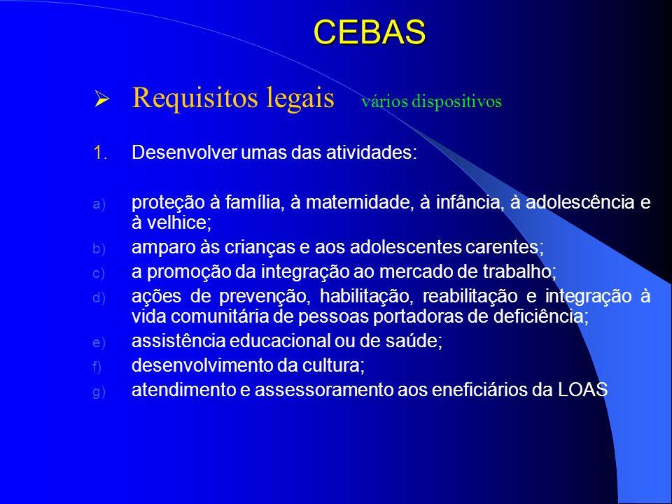 CEBAS Requisitos legais vários dispositivos 1. Desenvolver umas das atividades: a) proteção à família, à maternidade, à infância, à adolescência e à v