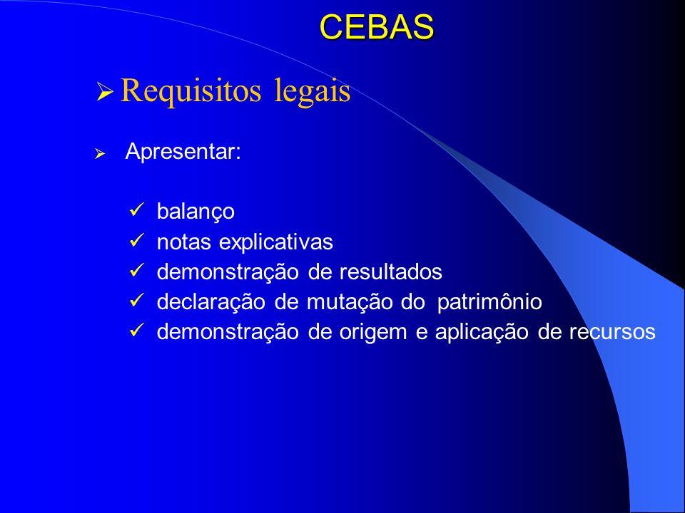 CEBAS Requisitos legais Apresentar: balanço notas explicativas demonstração de resultados declaração de mutação do patrimônio demonstração de origem e