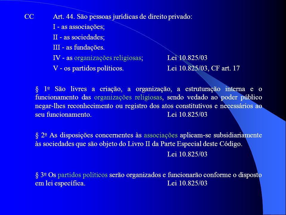 CCArt. 44. São pessoas jurídicas de direito privado: I - as associações; II - as sociedades; III - as fundações. IV - as organizações religiosas; Lei